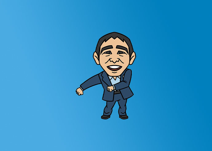 A cartoon image of Andrew Yang dancing